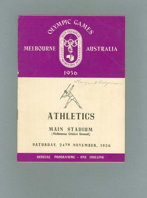 Programme - Athletics - 1956 Olympic Games, MCG, 24 November