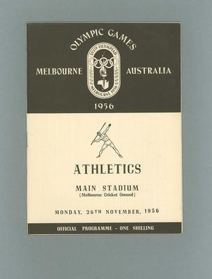 Programme - Athletics - 1956 Olympic Games, MCG, 26 November