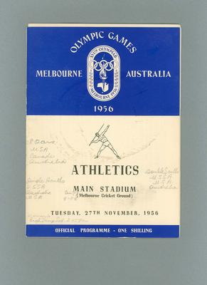 Programme - Athletics - 1956 Olympic Games, MCG, 27 November