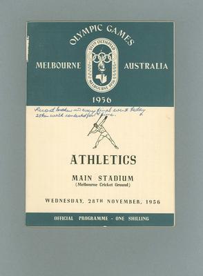 Programme - Athletics - 1956 Olympic Games, MCG, 28 November