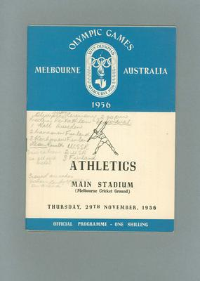 Programme - Athletics - 1956 Olympic Games, MCG, 29 November; Documents and books; 2003.3896.22