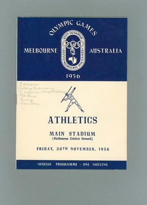 Programme - Athletics - 1956 Olympic Games, MCG, 30 November