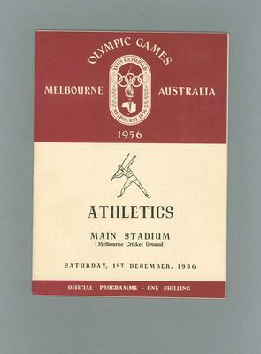 Programme - Athletics - 1956 Olympic Games, MCG, 1st December