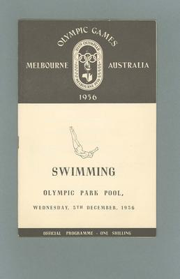 Programme - Swimming - 1956 Olympic Games, Olympic Park Pool, 5 December; Documents and books; 2003.3896.27