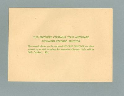 Envelope which contained Swimming Records Selector, 1956 Olympic Games
