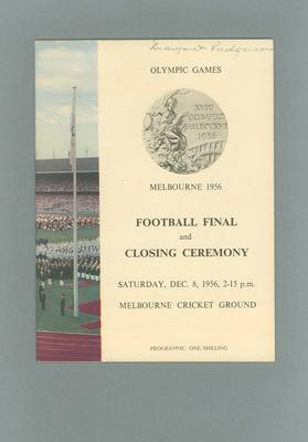 Programme - Football Final & Closing Ceremony - 1956 Olympic Games