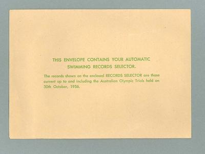 Envelope for Swimming Records Selector, 1956 Olympic Games