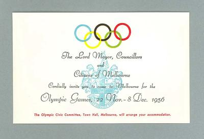 Invitation from Lord Mayor & Councillors to Melbourne Citizens, 1956 Olympic Games