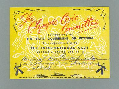 Invitation - The Olympic Civic Committee dance on 24/11/56