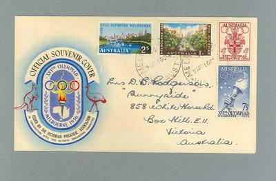 Envelope - Official Souvenir First Day Cover, 1956 Melbourne Olympic Games