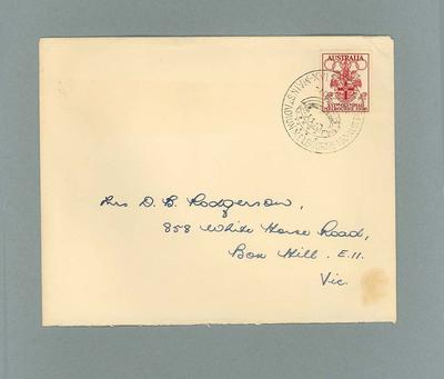 Envelope stamped from Olympic Post Office at MCC, 1956 Olympic Games