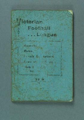 "Booklet, ""Victorian Football League Constitution & Rules 1919"""