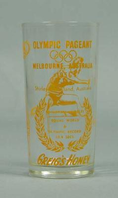 Drinking Glass - Shirley Strickland records, Olympic Pageant 1956 Melbourne