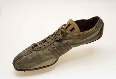 Running shoe worn by Brazilian athlete Adhemar Ferreira da Silva, Triple Jump Gold Medalist 1956 Melbourne Olympic Games
