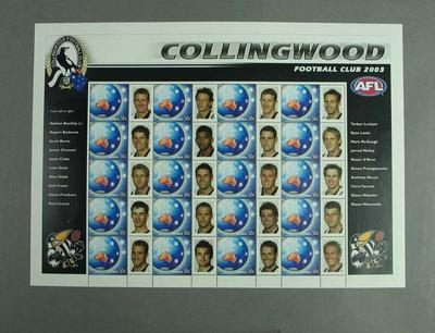 Postage stamp sheet - AFL Footy Stamps 2003 - Collingwood Football Club