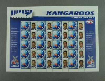 Postage stamp sheet - AFL Footy Stamps 2003 - Kangaroos Football Club