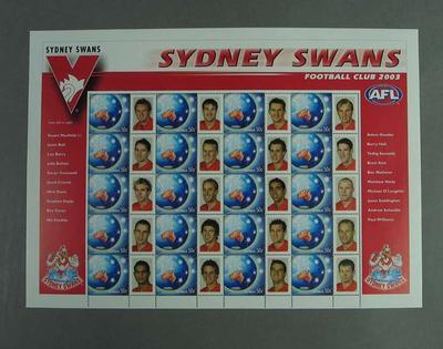 Postage stamp sheet - AFL Footy Stamps 2003 - Sydney Swans Football Club