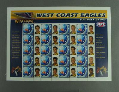 Postage stamp sheet - AFL Footy Stamps 2003 - West Coast Eagles Football Club