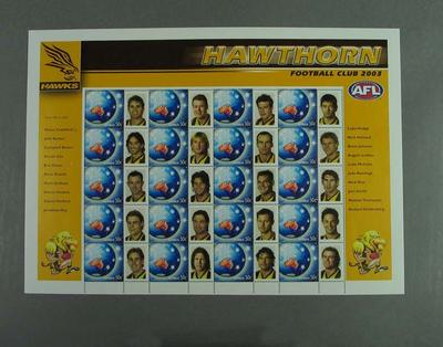 Postage stamp sheet - AFL Footy Stamps 2003 - Hawthorn Football Club