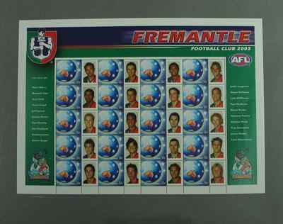 Postage stamp sheet - AFL Footy Stamps 2003 - Fremantle Football Club