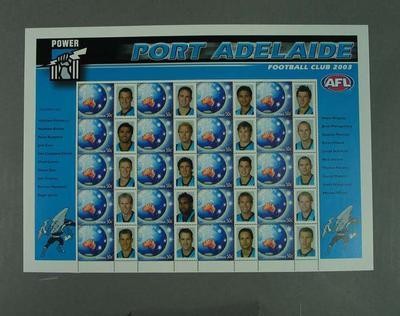 Postage stamp sheet - AFL Footy Stamps 2003 - Port Adelaide Football Club