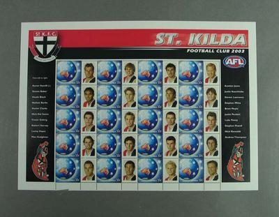 Postage stamp sheet - AFL Footy Stamps 2003 - St Kilda Football Club