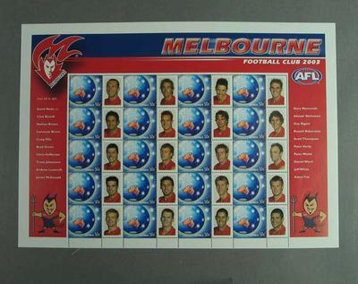 Postage stamp sheet - AFL Footy Stamps 2003 - Melbourne Football Club