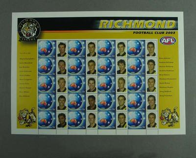 Postage stamp sheet - AFL Footy Stamps 2003 - Richmond Football Club