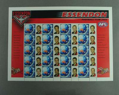 Postage stamp sheet - AFL Footy Stamps 2003 - Essendon Football Club
