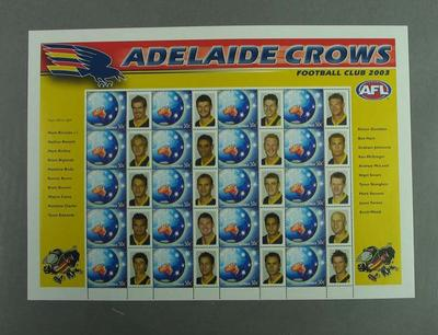 Postage stamp sheet - AFL Footy Stamps 2003 - Adelaide Crows Football Club