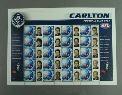 Postage stamp sheet - AFL Footy Stamps 2003 - Carlton Football Club