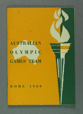 Booklet - Australian Olympic Games Team, Rome 1960; Documents and books; 2003.3897.3
