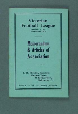 "Booklet, ""Victorian Football League: Memorandum & Articles of Association"" 1929"