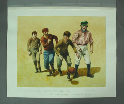 Watercolour, First recorded game of Australian Football 1858, artist Robert Ingpen 2001, MCC Tapestry no.5; Artwork; M10276