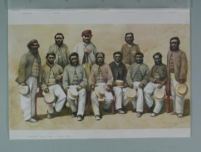 Watercolour, Aboriginal cricket team 1866, by artist Robert Ingpen 2001, MCC Tapestry no.6; Artwork; M10277