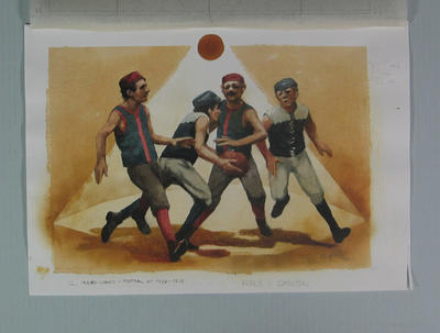 Watercolour, First football game played under lights at MCG 1879, by artist Robert Ingpen 2001, MCC Tapestry no. 13; Artwork; M10281