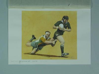 Watercolour, Bledisloe Cup match, artist Robert Ingpen 2002,  MCC Tapestry no 182
