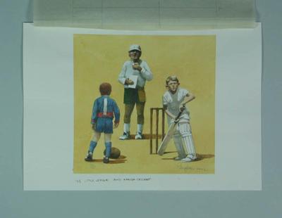 Watercolour, Little League & Kanga Cricket, by artist Robert Ingpen 2002,  MCC Tapestry no.185; Artwork; M10447