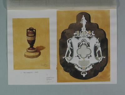 Watercolour, Ashes urn & Sheffield Shield, by artist Robert Ingpen 2001, MCC Tapestry nos. 17 & 23; Artwork; M10286