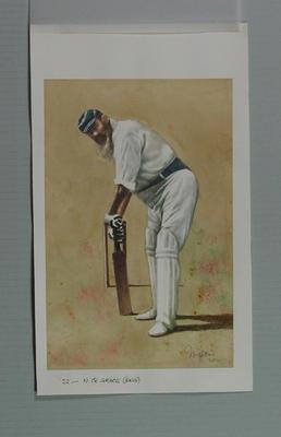 Watercolour, Dr W G Grace, by artist Robert Ingpen 2001, MCC Tapestry no.22