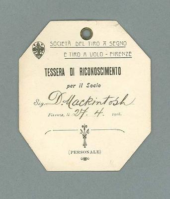 Identification card used by Donald Mackintosh, 1908