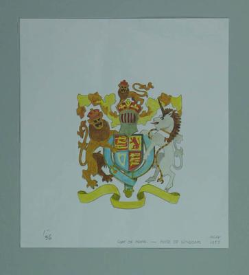 Watercolour, House of Windsor Coat-of-Arms, artist Robert Ingpen 2002,  MCC Tapestry