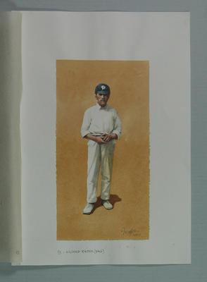 Watercolour, Wilfred Rhodes, by artist Robert Ingpen 2001, MCC Tapestry no.33; Artwork; M10297