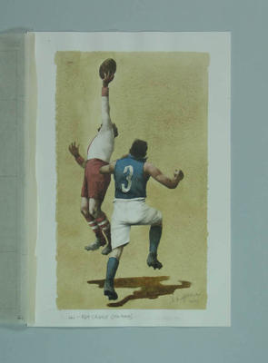 Watercolour, Roy Cazaly, by artist Robert Ingpen 2001, MCC Tapestry no.44