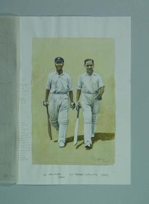 Watercolour, J Hobbs & H Sutcliffe, by artist Robert Ingpen 2001, MCC Tapestry nos.45 & 46