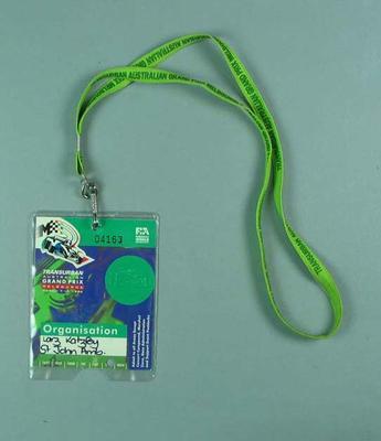 Identification card, 1996 Australian Formula 1 Grand Prix