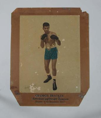 Hand-coloured autographed photograph of Light-weight boxer George Bracken