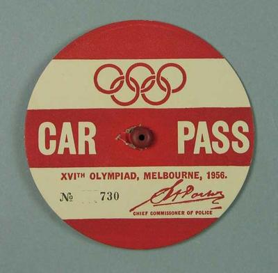Car Pass No. 730, issued to F.H. Pizzey - 1956 Melbourne Olympic Games