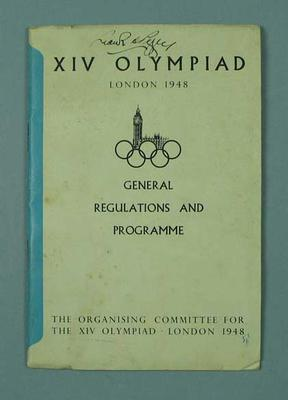 Booklet - XIV London 1948 0lympiad, General Regulations and Programme