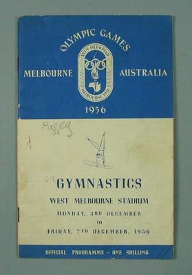 Programme - Gymnastics, West Melbourne Stadium, 1956 Olympics, 7 December